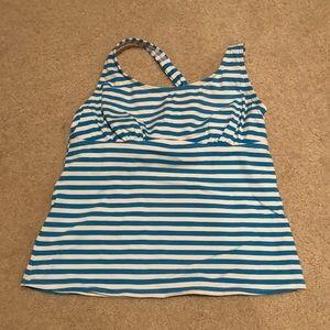 Lands' End women's Striped Swim Top
